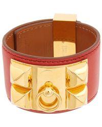 Hermès Gold-plated & Red Swift Leather Collier De Chien Cuff Bracelet - Metallic