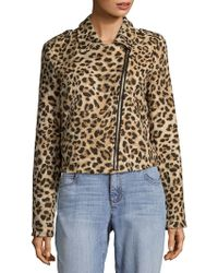 C&C California - Leopard Print Moto Jacket - Lyst