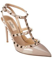 Valentino - Rockstud Caged 100 Leather Ankle Strap Pump - Lyst