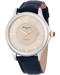 Ferragamo - 41mm Stainless Steel Automatic Leather Strap Watch - Lyst