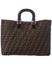 Fendi Brown Zucca Canvas Large Handbag