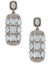Bavna | Diamond, Aquamarine & Sterling Silver Earrings | Lyst