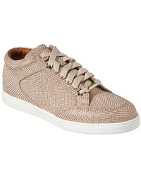 99155a29597a Jimmy Choo Miami Natural And Silver Metallic Linen Sneakers Natural/silver  34.5 - Lyst