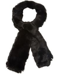 Badgley Mischka - Honeycomb Stitch Pull Through Scarf With Faux Chinchilla - Lyst