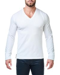 Maceoo | V-neck Jacquard Square Sweater | Lyst