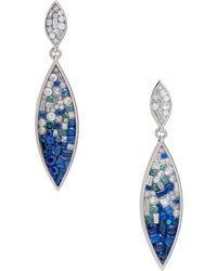 Plevé   18k White Gold, Sapphire & Diamond Marquise Earrings   Lyst