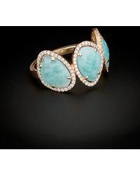 Meira T - 14k 6.04 Ct. Tw. Diamond & Blue Amazonite Ring - Lyst