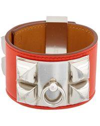 Hermès - Red Swift Leather Collier De Chien Cuff Bracelet - Lyst