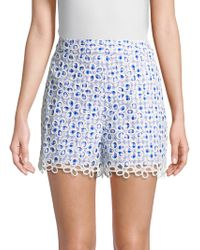 Anna Sui - Gingham-and-daisies Cotton Shorts - Lyst