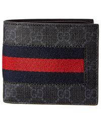 Gucci - Portafoglio In Tessuto Gg Supreme Con Dettaglio Web - Lyst
