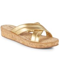 Bernardo - Crisscross Leather Wedge Sandals - Lyst