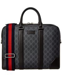 Gucci - GG Supreme Canvas & Leather Briefcase - Lyst
