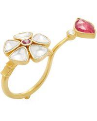 Amrapali - 18k Yellow Gold, Ruby & 0.89 Total Ct. Diamond Lotus Flower Ring - Lyst