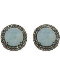 Adornia - Fine Jewellery Silver Aquamarine Studs - Lyst