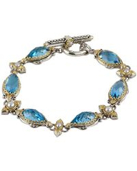 Konstantino - Amphitrite 3-4mm White Pearl, Swiss Blue Topaz And Sterling Silver Bracelet - Lyst