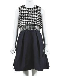 Dior Wool Houndstooth A-line Dress, Size Fr 38 - Black