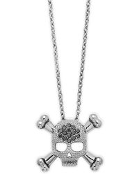 KC Designs - Black Diamond & 14k White Gold Skull Necklace - Lyst