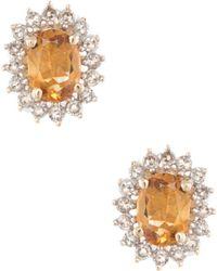 Estate Fine Jewelry - Estate 14k Yellow Gold, Citrine & 0.30 Total Ct. Diamond Princess Stud Earrings - Lyst
