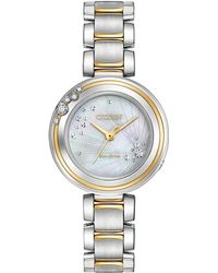 Citizen - Women's Carina Diamond Accent Two-tone Stainless Steel Bracelet Watch 28mm Em0464-59d - Lyst
