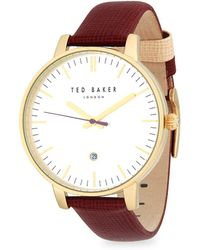Ted Baker - Goldtone Stainless Steel Leather Strap Watch - Lyst