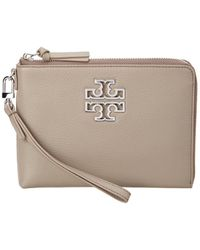 Tory Burch - Britten Large Leather Zip Pouch Wristlet - Lyst