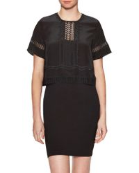 Jonathan Simkhai - Silk Lace Panel Blouse - Lyst