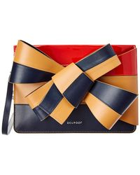 Delpozo - Large Bow Leather Clutch - Lyst