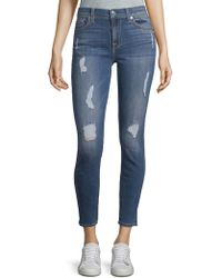 7 For All Mankind - Distressed Ankle Jeans - Lyst