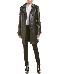 Saint Laurent - Belted Leather Trench Coat - Lyst