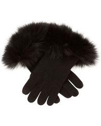 Sofia Cashmere - Fox Fur-trimmed Cashmere Tech Gloves - Lyst