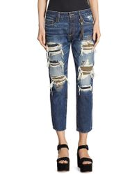 Tortoise - Savanna Cropped Slim Straight-fit Distressed Jeans - Lyst