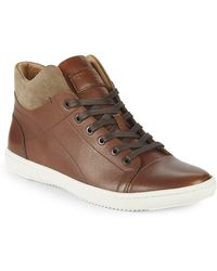 Kenneth Cole - Lace-up Leather High-top Trainers - Lyst