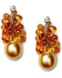 Vendoro - 18k White Gold, Pearl & Citrine Cluster Earrings - Lyst