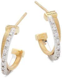 Marco Bicego - Diamond & 18k Yellow Gold Huggie Earrings - Lyst