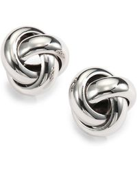 Saks Fifth Avenue - Sterling Silver Knot Stud Earrings - Lyst