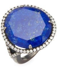 Meira T - Silver Lapis Diamond Ring - Lyst