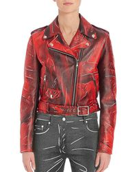 Moschino - Faded Leather Moto Jacket - Lyst