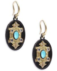 Armenta - Old World Diamond, Sapphire, Reconstituted Turquoise, Rainbow Moonstone, 18k Yellow Gold & Sterling Silver Drop Earrings - Lyst