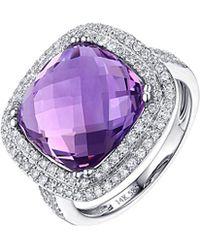 Diana M. Jewels . Fine Jewellery 14k 20.87 Ct. Tw. Diamond & Amethyst Ring