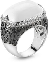 Alor - Delatori By Silver & Rhodium 19.00 Ct. Tw. White Agate & Crystal Ring - Lyst