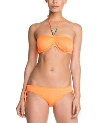 Shoshanna Solid Neon Orange Beaded Bow Brief Bottom