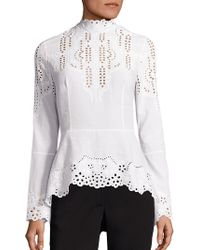 Yigal Azrouël - Embroidered Cotton Blouse - Lyst