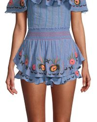 Red Carter - Barra Embroidered Chambray Shorts - Lyst