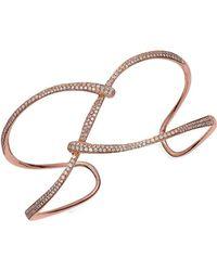 Effy - 1.06 Tcw Diamond & 14k Rose Gold Woven Bangle Bracelet - Lyst