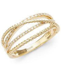 KC Designs - Crisscross 14k White Diamond And 14k Gold Ring - Lyst