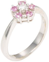 Rina Limor - 18k White Gold, Pink Sapphire & Diamond Floral Ring - Lyst