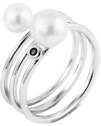 Splendid - Splendid Pearl Silver 5-8mm Freshwater Pearl & Cz Ring - Lyst