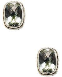 Effy - Sterling Silver & 18k Gold Green Amethyst Stud Earrings - Lyst