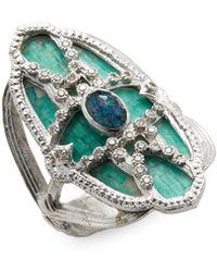 Armenta - Sterling Silver Opal, Quartz And Diamond Mosaic Ring - Lyst