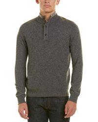 RAFFI - Suede-trim Mock Neck Sweater - Lyst